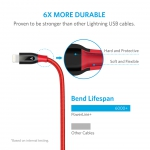 Anker PowerLine+ Lightning Cable 0.3 метра - красный (A8124091)