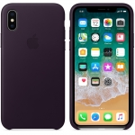 Apple iPhone X Leather Case - Dark Aubergine (MQTG2)