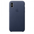 Apple Leather Case для iPhone X - Midnight Blue (MQTC2)
