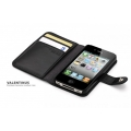 SGP Leather Wallet Case Valentinus Black for iPhone 4, 4S (SGP08525)
