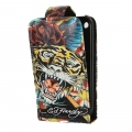 Leather Case Ed Hardy & Christian Audigier Flip Top Tiger Rose for iPhone 3G/3GS