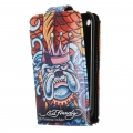 Leather Case Ed Hardy & Christian Audigier Flip Top King Dog for iPhone 3G/3GS