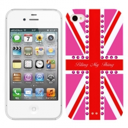 Bling My Thing Hot Pink Union Jack Fuchsia for iPhone 4, 4S (BMT-11-20-12-03)