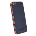 Busbuck Jester Genuine Leather Case for iPhone 5, 5S - Blue Red