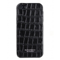 Busbuck Caiman Genuine Leather Case for iPhone 5, 5S - Black