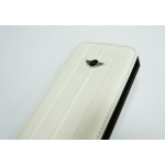 Mini Cooper Leather Hard Case with Flap White for iPhone 4, 4S (MNFLP4STWH)