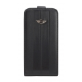 Mini Cooper Leather Hard Case with Flap for iPhone 4, 4S - Black (MNFLP4STBL)