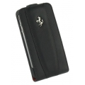 Ferrari Leather Case with Flap Modena Black for iPhone 4, 4S (FEFLIP4B)