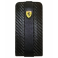 Ferrari Leather Case with Flap Challenge Black for iPhone 4, 4S (FEFLIP4C)