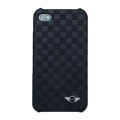 Mini Cooper Leather Hard Case Chequered Black for iPhone 4, 4S (MNHUP4SQBL)