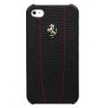Ferrari Leather Hard Case Modena Metal Logo Black/Red for iPhone 4, 4S (FEMO4MBLR)