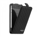 Mini Cooper Leather Hard Case Flap Chequered Black for iPhone 4, 4S (MNFLP4SQBL)