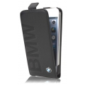 BMW Flip Case Debossed Logo for iPhone 5, 5S - Black