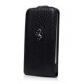 Ferrari Leather Flap Case FF Collection for iPhone 5, 5S, Black (FEFFFLP5BL)