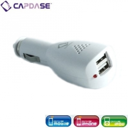 Capdase Dual USB Car Charger White for iPhone/iPod (CA00-0702)