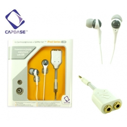 In-Ear Headphones & Splitter Set for Apple iPod White 1.2m Capdase