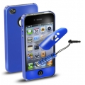 Cellularline Smart Set (Cover, P-Film, Stylus) for iPhone 4, 4S - Blue (VERNISSAGEIPHONE4B)