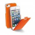 Cellularline Eco Leather Flap Flat for iPhone 5, 5S - Orange (FLAPSLIMIPHONE5O)