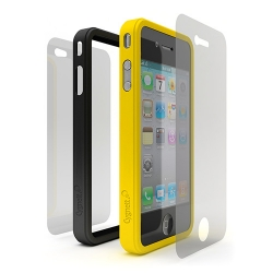 Cygnett Snap Duo Silicone Frame Yellow&Black for iPhone 4 (CY0110CPSND)