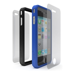 Cygnett Snap Duo Silicone Frame Blue&Black for iPhone 4 (CY0111CPSND)