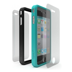 Cygnett Snap Duo Silicone Frame Turquoise&Black for iPhone 4 (CY0108CPSND)