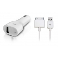 Dexim Car Charger for iPad 3, 2, 1, iPhone 3G/S, 4/S, iPod`s, White (DCA212-W)