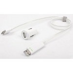 Dexim Compact Car Charger for iPad`s, iPhone 3G/S, 4/S, iPod`s, White (DCA275-W)