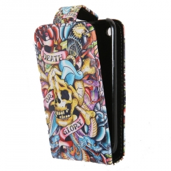 Leather Case Ed Hardy & Christian Audigier Flip Top Death or Glory for iPhone 3G/3GS