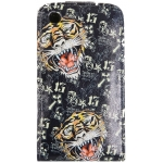 Leather Case Ed Hardy & Christian Audigier Flip Top Tiger for iPhone 3G/3GS Black