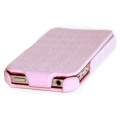 Hoco Bright Crocodile Leather Case for iPhone 4, 4S - Pink