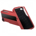 ION Carbon Fiber Leather Shell Red for iPhone 4, 4S (i869- LRD035)