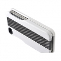 ION Carbon Fiber Leather Shell White for iPhone 4, 4S (i869- LWH003)