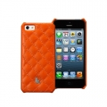 Jison Case Quilting Leather Back Cover for iPhone 5, 5S - Orange (JS-IP5-01G90)