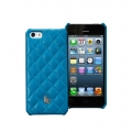 Jison Case Quilting Leather Back Cover for iPhone 5, 5S - Lake Blue (JS-IP5-01G42)
