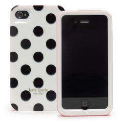 Kate Spade Premium HardShell Case Black Dots for iPhone 4, 4S (Style 01686-0)