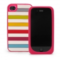 Kate Spade Premium Silicone Case Candy Shop Stripes  for iPhone 4 (Style 02013-0)
