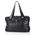 "Knomo Lola Handbag Tote for Laptops with 15"", Black Pebbled (KN-25-254-BLK)"