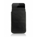 Knomo Luxurious Leather Slim Case, Black for iPhone 4, 4S (KN-POD120)