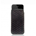 Knomo Luxurious Leather Slim Case, Black&Fuchsia for iPhone 4, 4S (KN-POD121)