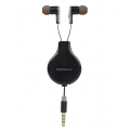 Macally Noise Isolation Retractable Earphones with Remote & Mic - Black (BUBAUDIO-B)