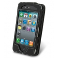 Melkco Leather Case Flip Black with Name Card Slot for iPhone 4 (APIPO4LCFT3BK)