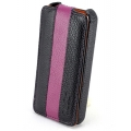 Melkco Leather Case Jacka Type for iPhone 4, Black/Purple (APIPO4LCJM1BKPELC)