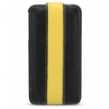 Melkco Leather Case Jacka Type for iPhone 4, Black/Yellow LC (APIPO4LCJM1BKYWLC)