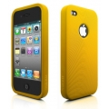 Swirling Series Silicone Case Golden Yellow for iPhone 4 (AP13-001GLD)