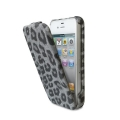 Puro iPhone 4, 4S Leopard case in eco-leather Grey (IPC4LEOGREY)