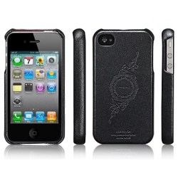 SGP iPhone 4, 4S Leather Case Genuine Leather Grip Sereis [Infinity Black] (SGP06900)