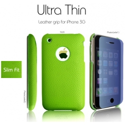 SGP Ultra Thin Leather Grip Green (with Crystal Clear) for iPhone 3G/3GS