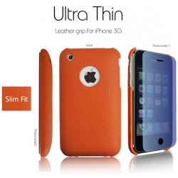 SGP Ultra Thin Leather Grip Orange (with Crystal Clear) for iPhone 3G/3GS