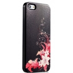 Star5 Graceful Luxury Flowers Black for iPhone 5, 5S (with Swarovski)