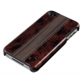 Trexta Ebony Wood on Croco Brown for iPhone 4, 4S